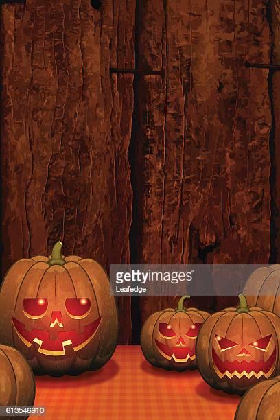 halloween background [jack o' lantern on the board] - entusiástico stock illustrations