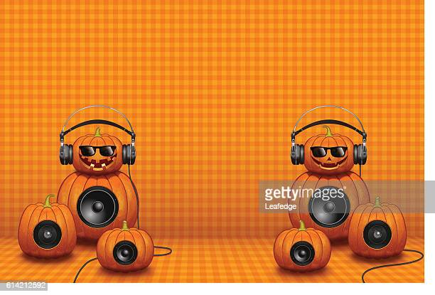 Halloween background [Jack o' Lantern with the headphone & speakers]