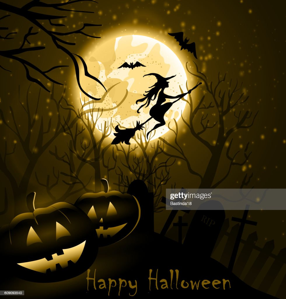Halloween background of Witch on the full moon