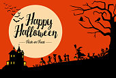 Halloween background, Silhouette of children going trick or treating, Vector Illustration
