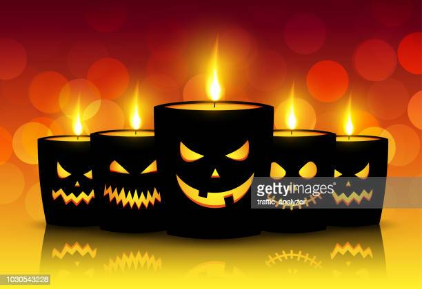 halloween background - candle stock illustrations, clip art, cartoons, & icons