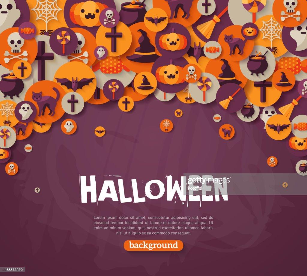 Halloween Background. Vector Illustration. Flat Halloween Icons