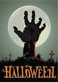 Halloween background with a zombie hand