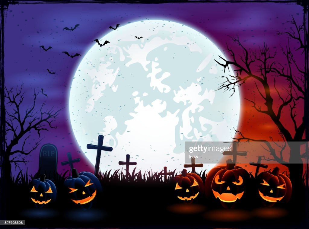 Halloween background with big Moon and pumpkins