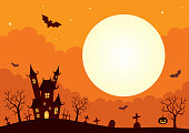 Halloween background with castle and full moon