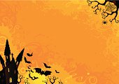 Halloween background with castles and bats