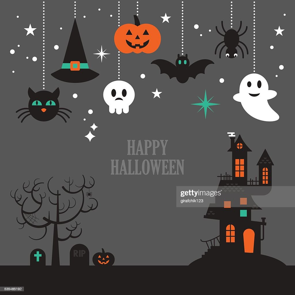 Halloween background with decorative elements for design