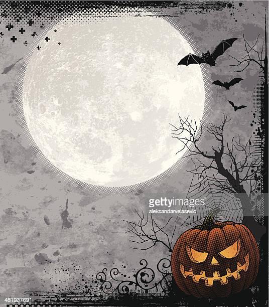 halloween background with full moon - moon stock illustrations