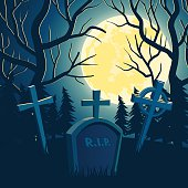Halloween background with graveyard, full moon and trees