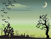 Halloween Background with Green Sky