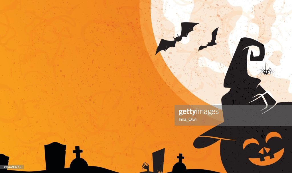 Halloween background with holiday symbols pumpkin, witch hat, zombie, spider and bat.