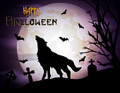 Halloween background with howling wolf at moonlight
