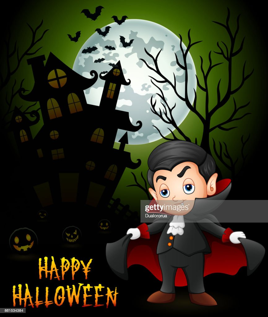Halloween background with little dracula and spooky castle