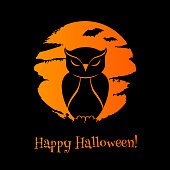 Halloween background with owl, moon and bats