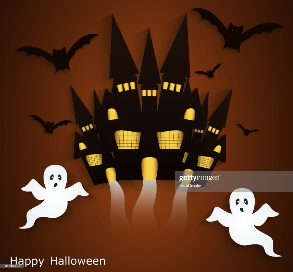 Halloween background with scary ghosts.
