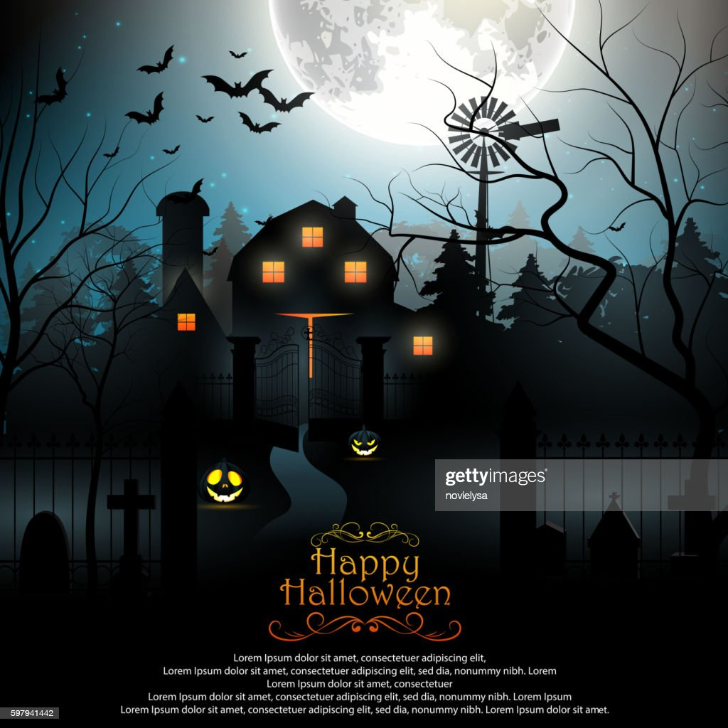 Halloween background with scary graveyard and farmhouse in the woods