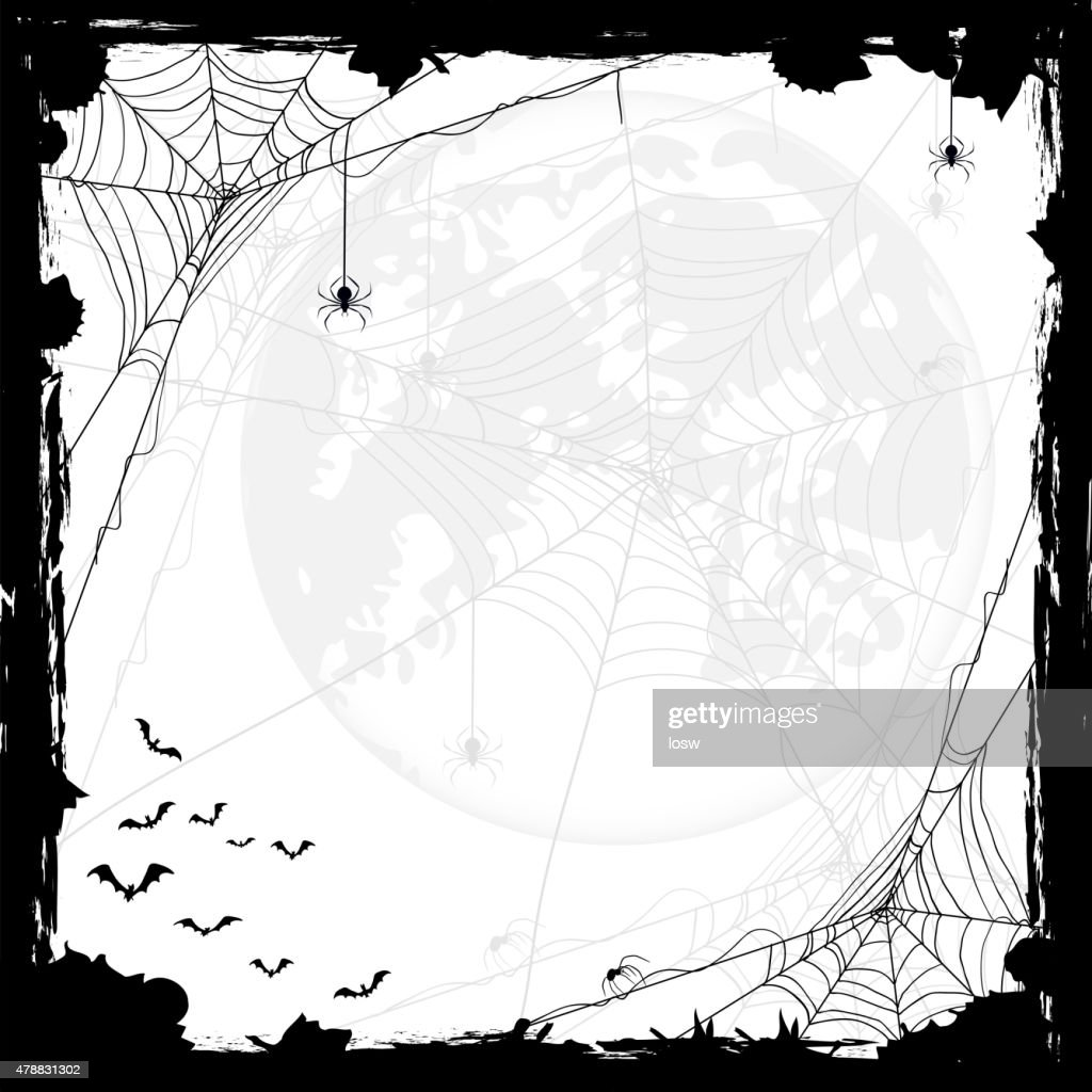 Halloween background with spiders and bats