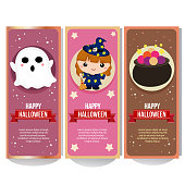 halloween banner collection with lovable kid witch cartoon
