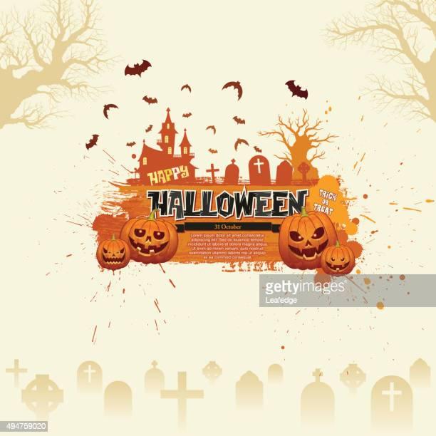 halloween banner [jack o' lantern world] - entusiástico stock illustrations