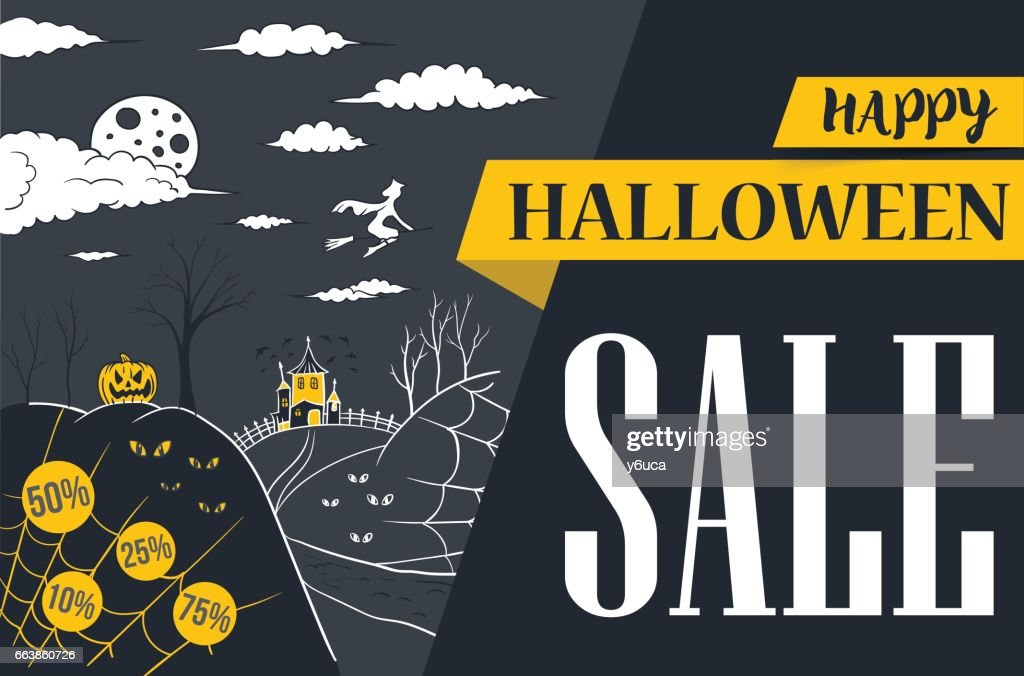 halloween banner sale vector illustration