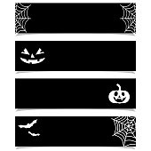 halloween banners or headers set, black background