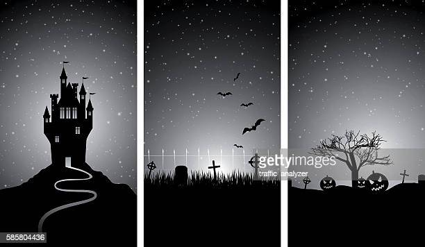 halloween banners - castle stock illustrations, clip art, cartoons, & icons