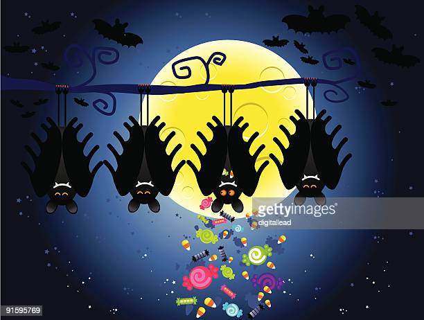 halloween bat hiding candy - tree trunk stock illustrations, clip art, cartoons, & icons