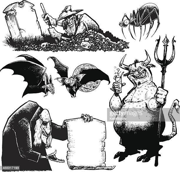 ハロウィーン bats 、クモの巣の、典型、悪霊、gravedigger 、 - 墓堀人点のイラスト素材/クリップアート素材/マンガ素材/アイコン素材
