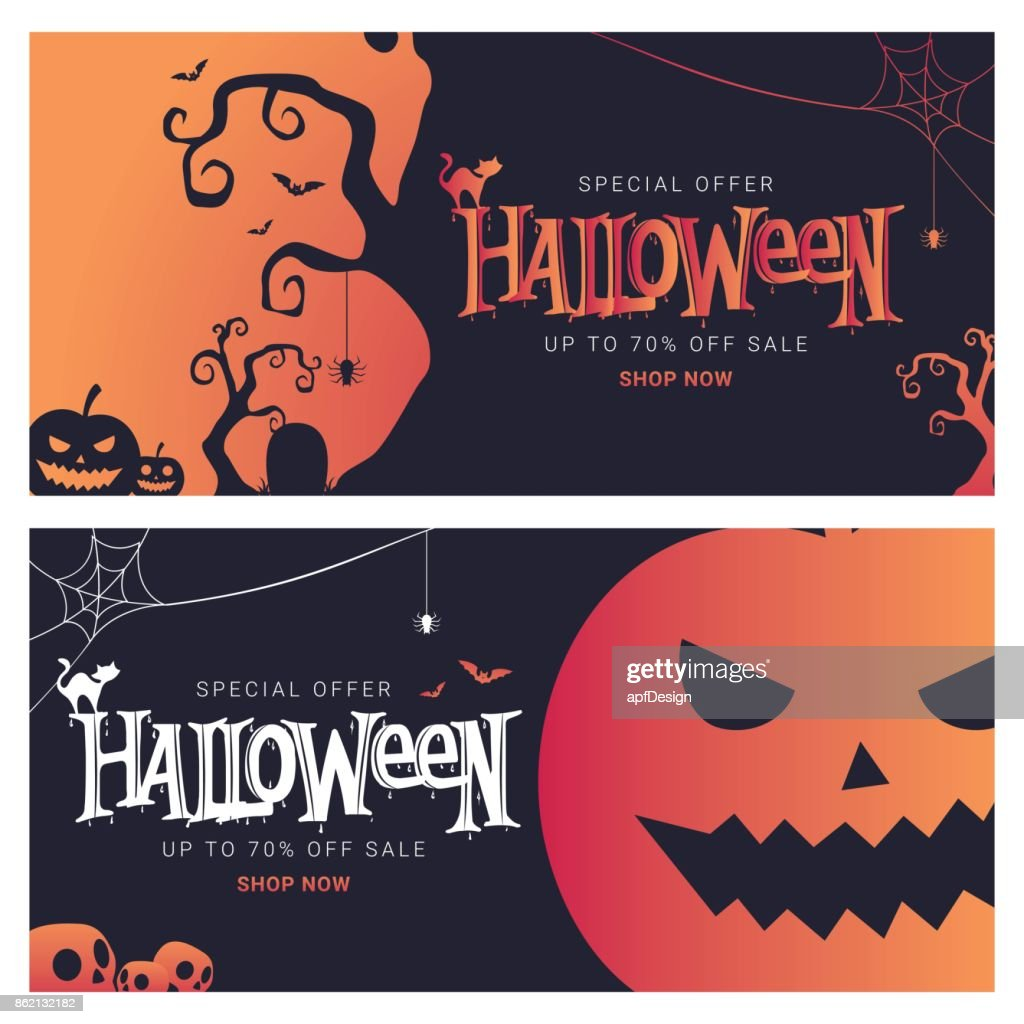 Halloween Big Sale banner shopping. Vector Illustration
