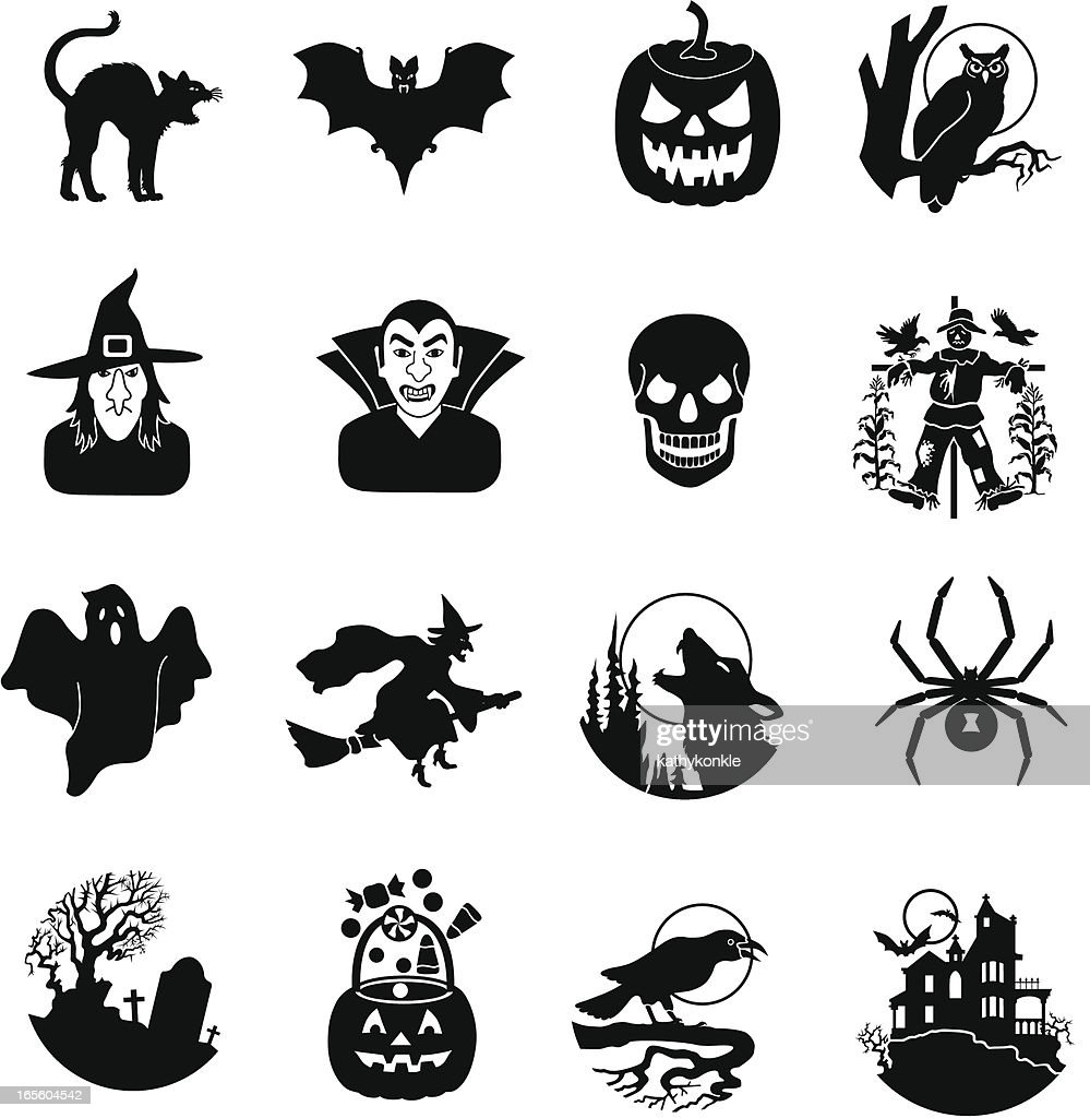 Halloween black and white icons