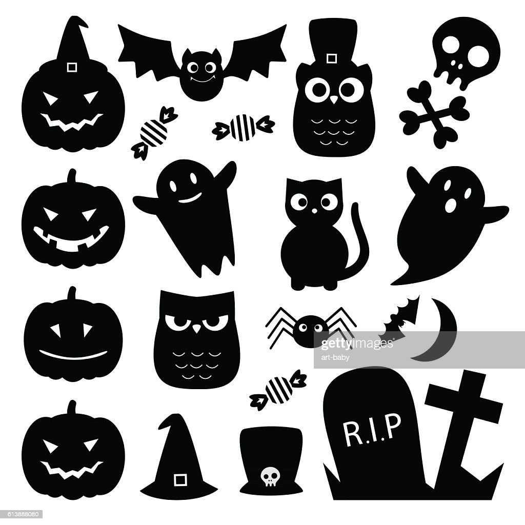 Halloween black cute icons