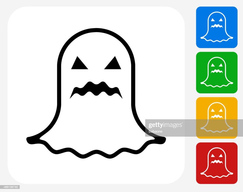 Halloween Black Ghost Icon Flat Graphic Design