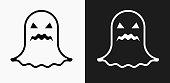 Halloween Black Ghost Icon on Black and White Vector Backgrounds
