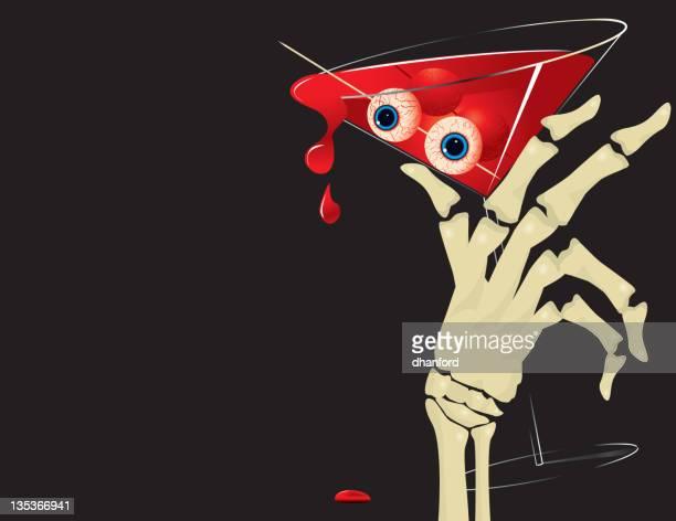 Halloween, Blut Martini, hand Skelett bloodshot Augen