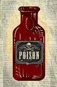 Hallowe'en bottle with Poison labels