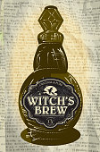 Hallowe'en bottle with Witch's Brew labels