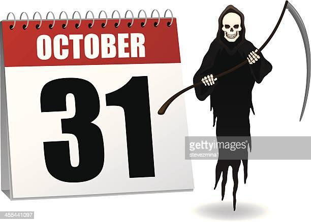 ilustraciones, imágenes clip art, dibujos animados e iconos de stock de halloween calendario - la muerte