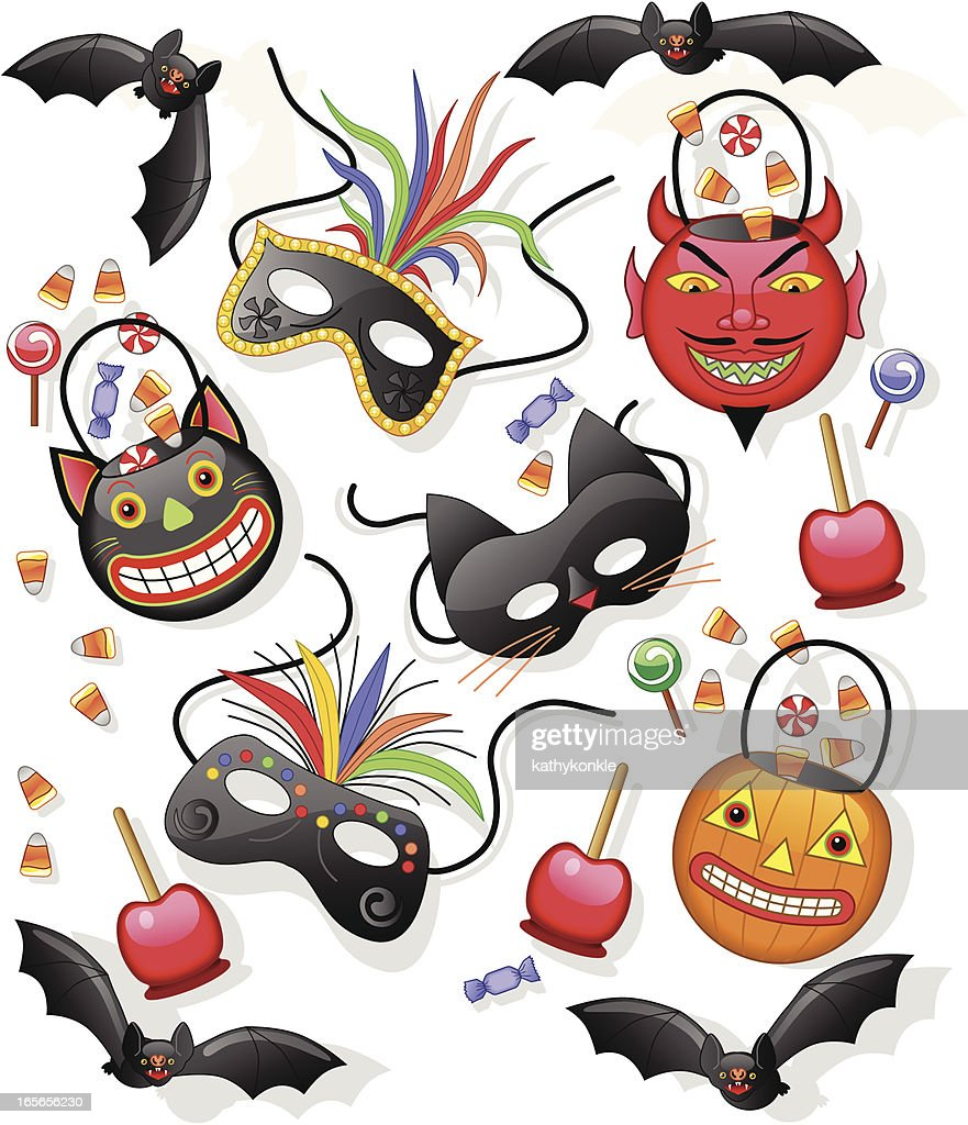 Halloween candy pails and masks