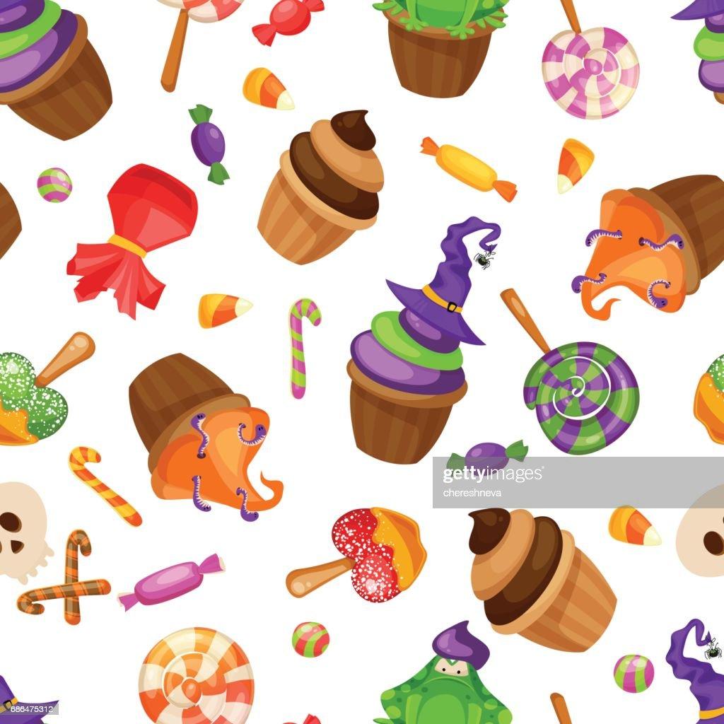 Halloween Snoep.Halloween Snoep Naadloze Patroon Textuur Met Snoep Snoep