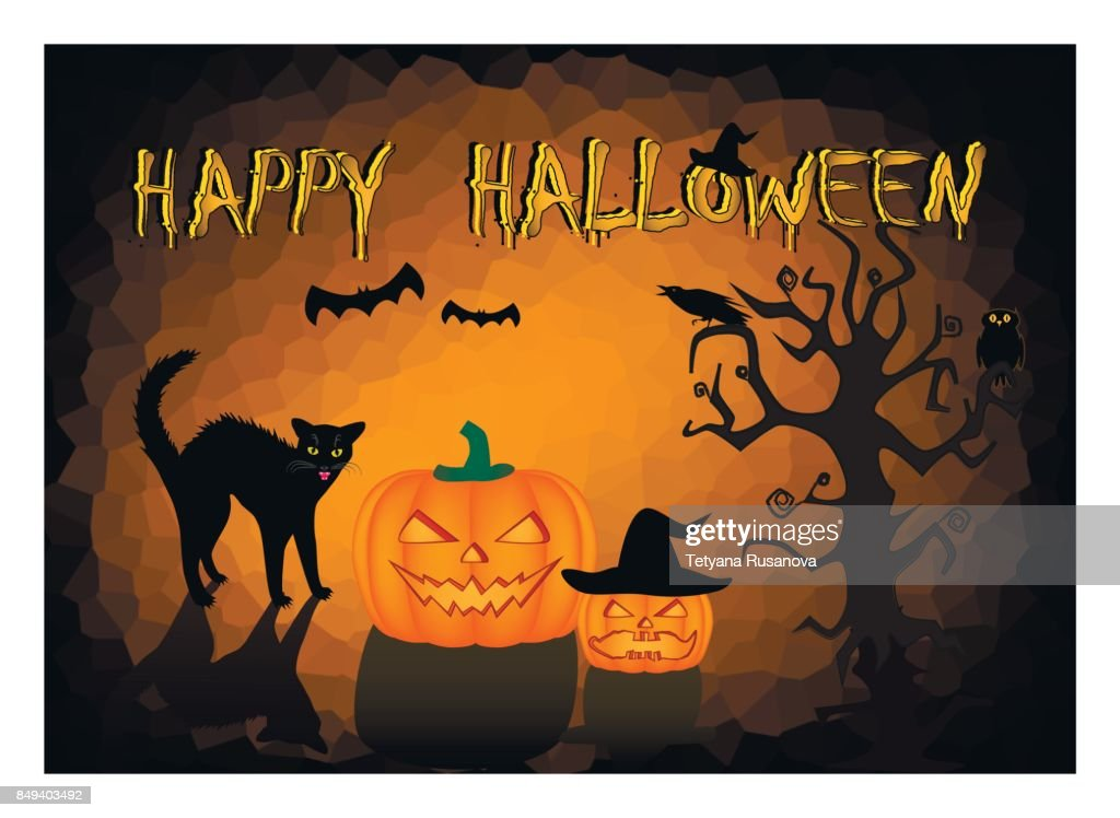 Halloween card angry black cat and two pumpkins on the dark orange background, horizontal