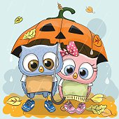 Halloween card Two cute cartoon Owls