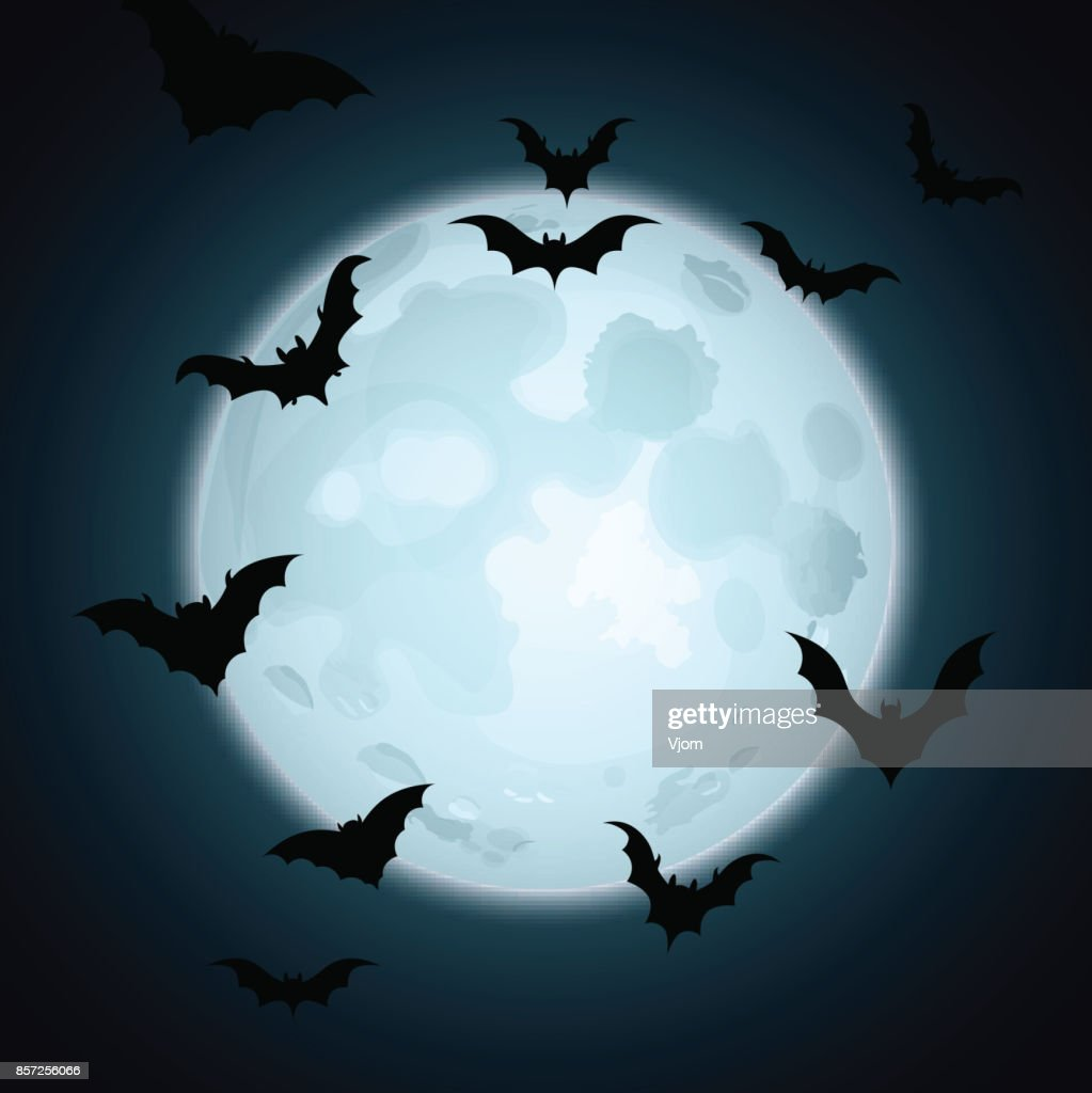 Halloween card with bats and moon.