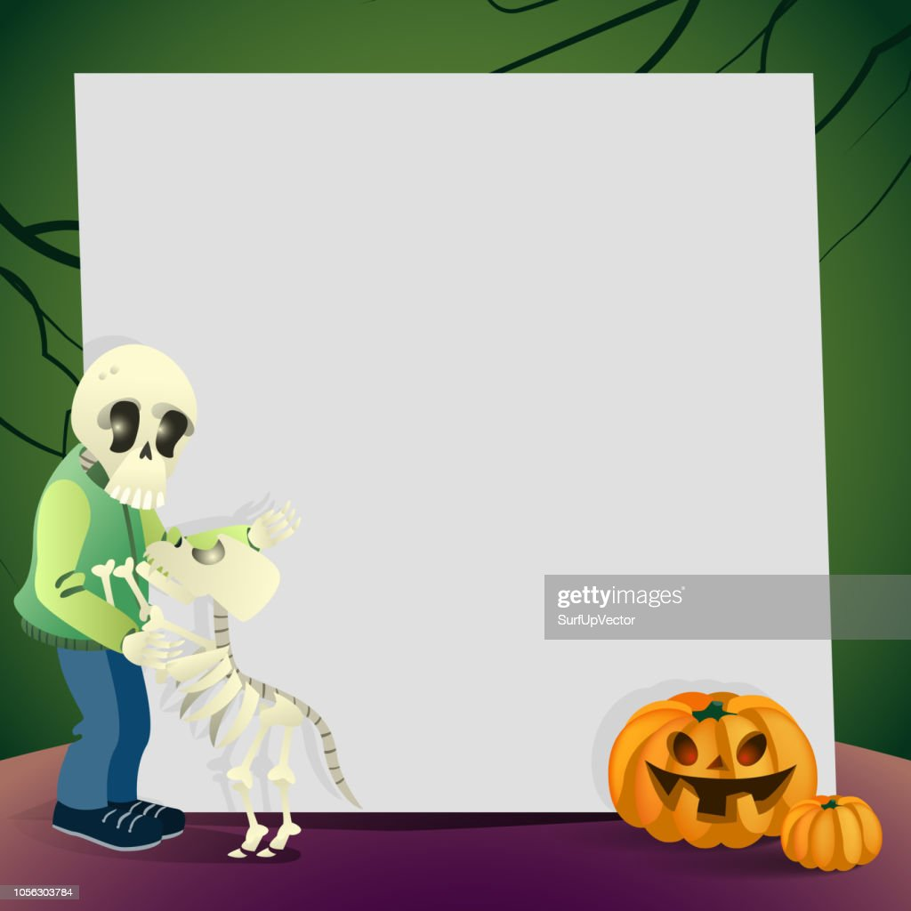 Halloween card with blank paper sheet, dog and owner skeletons