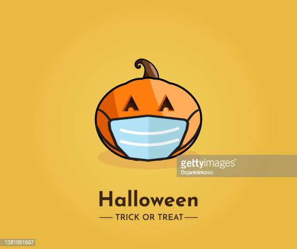 halloween card with pumpkin wearing mask. trick or treat. vector - disease vector stock illustrations