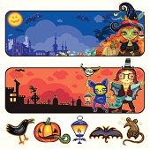 Halloween cartoon banners. part 1