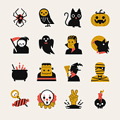 Halloween cartoon icon set. Included the icons as vampire, pumpkin, black cat, death, werewolf, mummy and more.