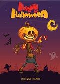 Halloween cartoon scarecrow with pumpkin head. Vector cartoon poster