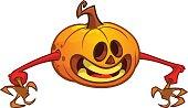 Halloween cartoon scarecrow with pumpkin head. Vector cartoon