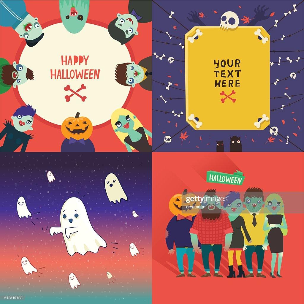 Halloween cartoon: zombies characters, flying ghosts, bones and skulls