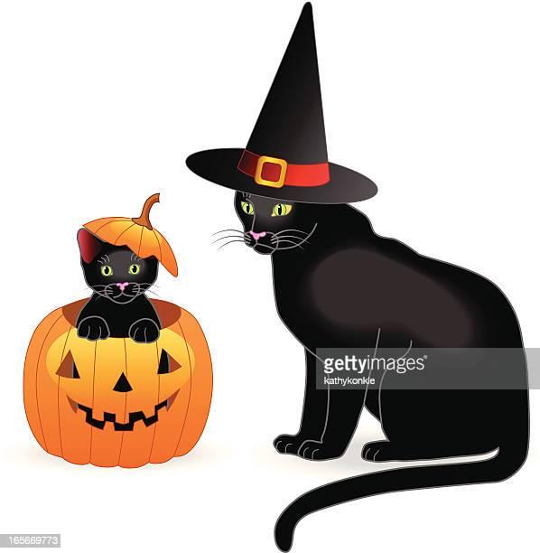 illustrations, cliparts, dessins animés et icônes de halloween chat et chaton - chat noir